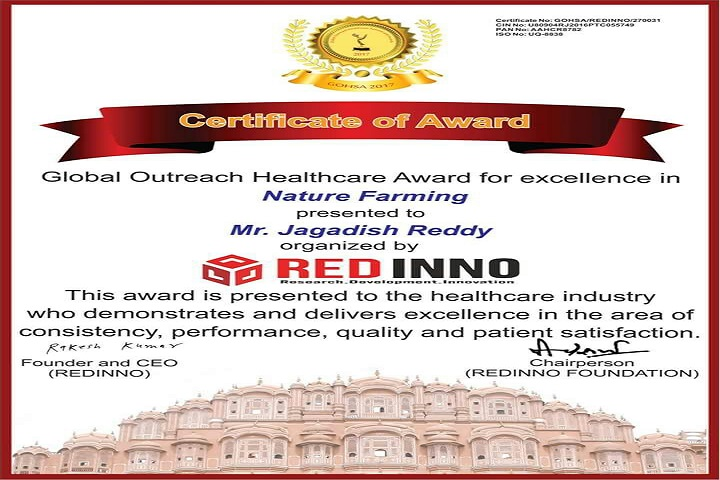 Global outreach health careaward for excellence in nature farming certificate